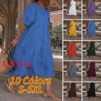 Летнее платье винтажное сексуальное платье до середины икры с рукавами-фонариками VONDA 2020 женский сарафан повседневное богемное пляжное платье размера плюс 3