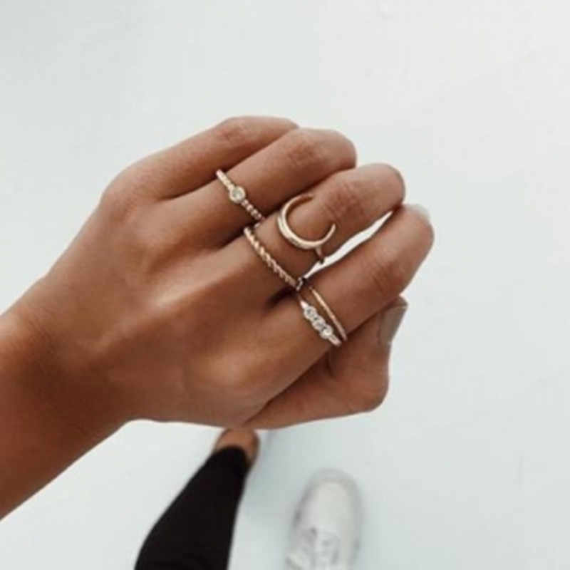 Europe and the United States simple temperament moon alloy thin ring ring combination five-piece ring кольцо rings for women