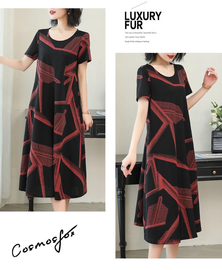 Dresses for Women Summer Print Dress Women's Loose Casual Large Size Women's Midi Dress Vestido De Mujer