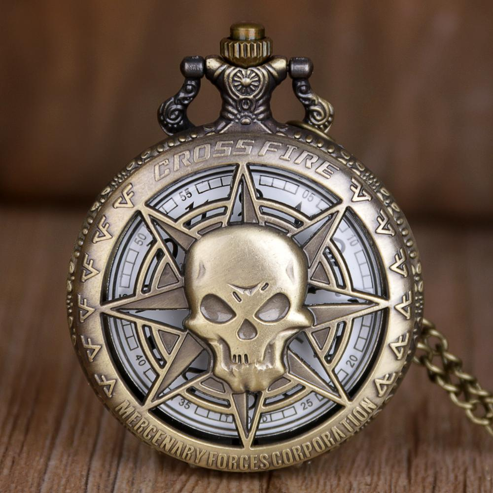 Fashion Bronze Pocket Watches Skull Stars Skeleton Carving Quartz Pocket Watches Hollow Clock Hot Cool Gifts For Mens Womens