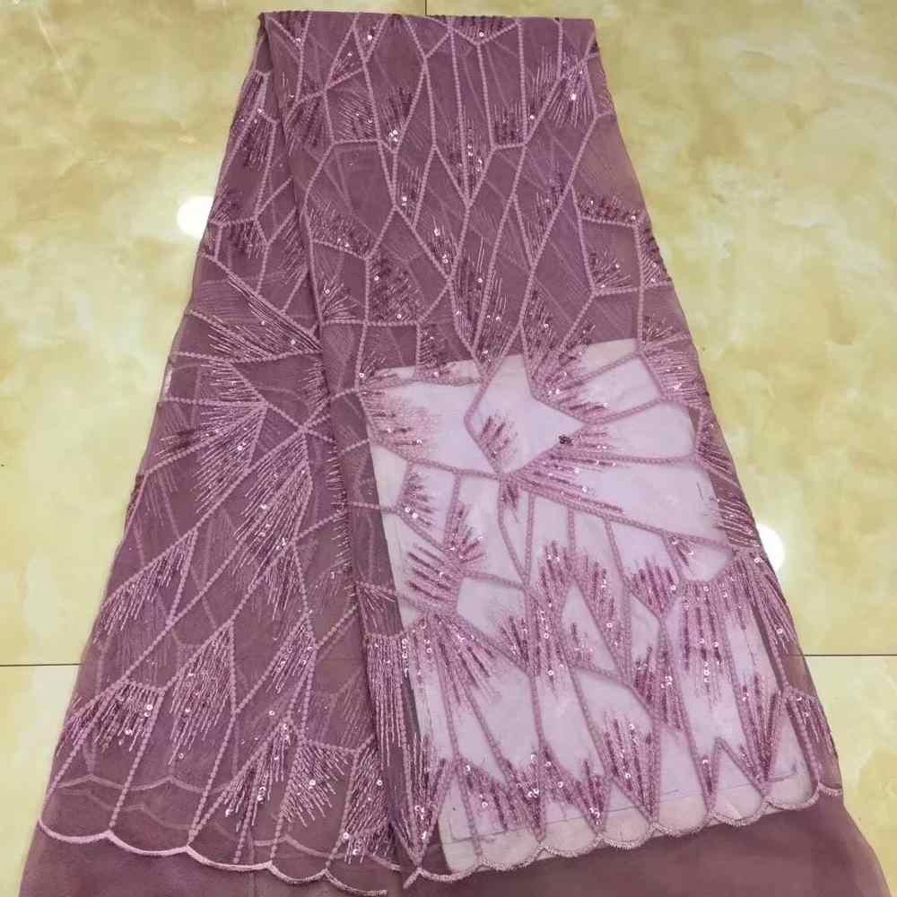2019 高品質アフリカスパンコールレース生地フレンチネット刺繍チュールレース生地ナイジェリアの結婚式のパーティードレス