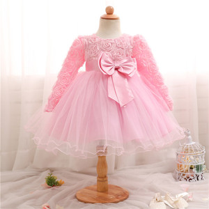 Baby Girls 1 2 Year Old Birthday Party Dress For Toddler Kids Christening Gown Newborn Flower Princess Costume Winter Clothing
