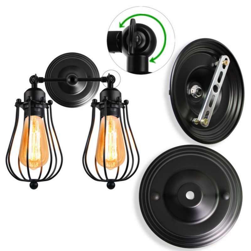 ヴィンテージ金属工業ウォールライトレトロワイヤーケージ壁ランプ E27 ベース 9 ワット鉄燭台装飾電球素朴なライトカフェバー