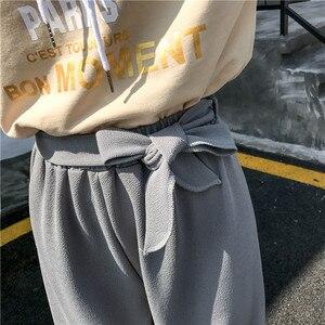 Image 5 - Женские свободные брюки палаццо, Элегантные повседневные брюки в стиле преппи с широкими штанинами, однотонные брюки, 2020