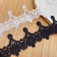 Water-soluble lace clothing embroidery fun pajamas accessories polyester barcode lace fabric baby clothes accessories spot milk silk water soluble embroidery lace computer embroidery unilateral wave lace barcode clothing accessories