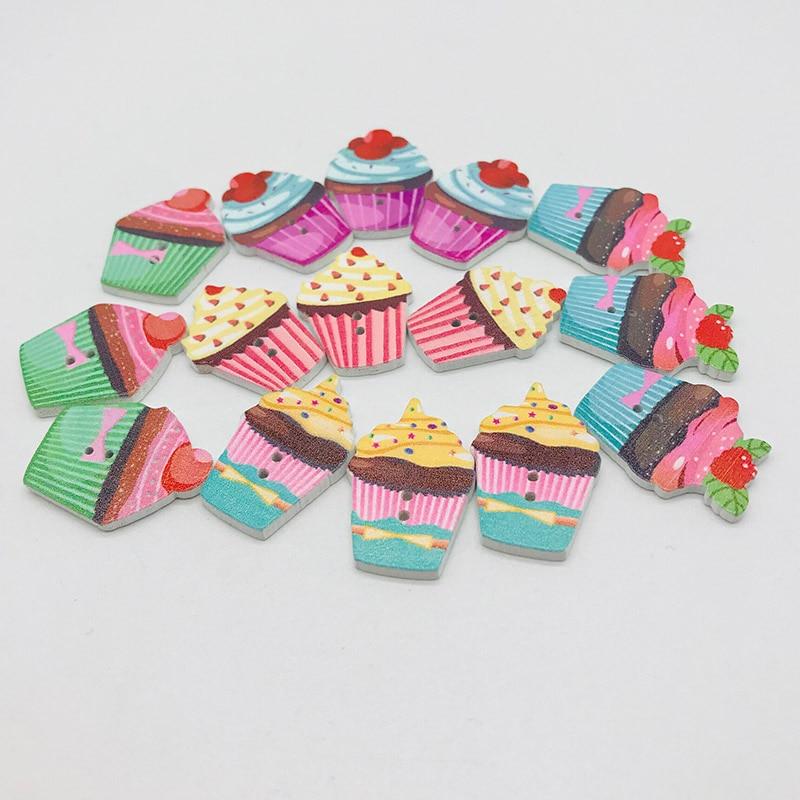 XINDONG Горячие разнообразные деревянные пуговицы цветной торт узор декоративные пуговицы 2 отверстия подходят пошив Скрапбукинг DIY 5 шт - Цвет: mix