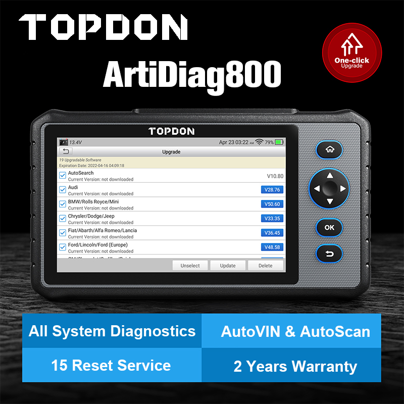 TOPDON Artidiag800 OBD2 Scanner Full System OBD Diagnostic Tool Automotive OIL IMMO TPMS Code Reader Diagnostic Scanner crp909