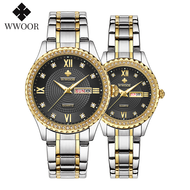 WWOOR Luxury Couple Silver Stainless Steel Watches Men Women Quartz Lover's Watch Date Quartz Wristwatches Montre Femme Homme