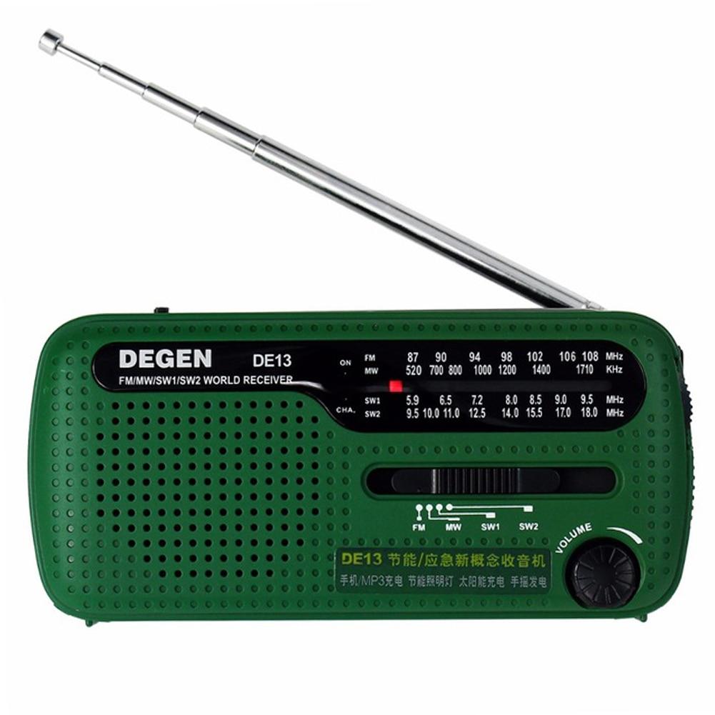 DE13 FM AM SW Crank Dynamo Solar Power Emergency Radio Solar Emergency Radio World Receiver High Quality