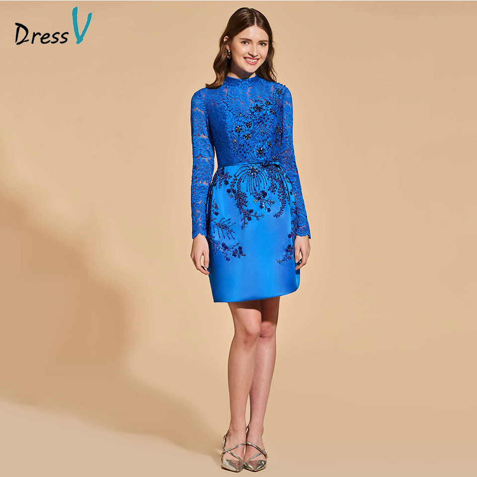 Dressv Elegant Cocktail Dress Scoop Neck Long Sleeves Beading Button Short Woman Party Gown Lace Sheath Cocktail Dress