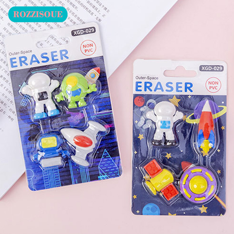 6 Box Cute Novelty Rubber Space Ship Kawaii Eraser Stationery Items School Astronaut Erase Supplies Gifts For Students Wholesale