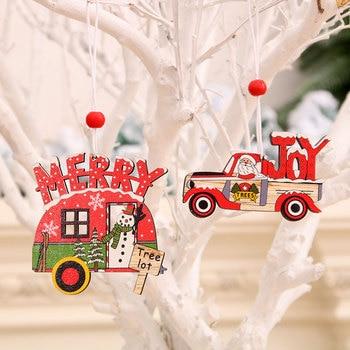 2PCS 크리스마스 페인트 자동차 나무 펜 던 트 크리스마스 트리 장식품 크리스마스 장식 홈 Navidad 나 탈 2020 새 해