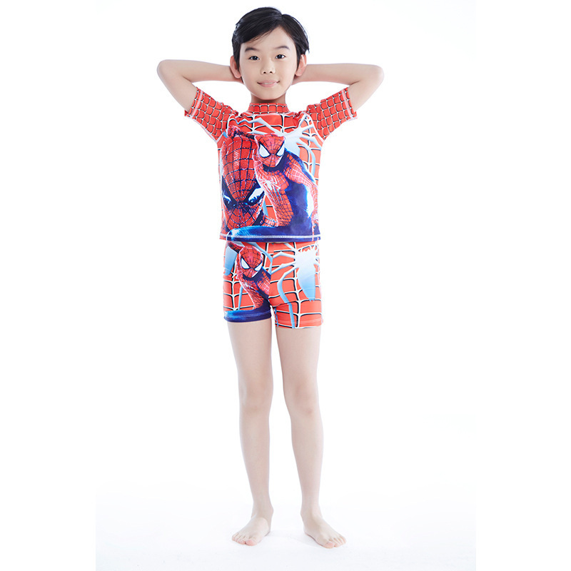 2018 Summer New Style BOY'S Boxer Two-piece Swimsuits Anime Printed KID'S Swimwear Holiday Hot Springs Beach Swimwear