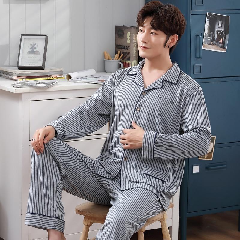 Men Pyjama Set 100% Cotton Spring Long Sleeve Print Men Pajama Suit Autumn Nightwear Collar Pijama Male Sleepwear Two Piece XXXL