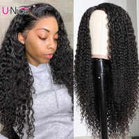 Unice 2x5 Curly PU Silk Base Wig Right Side Part Remy Human Hair Brazilian Curly Hair Wig Bleach Knots PU Human Hair Wigs 150% D
