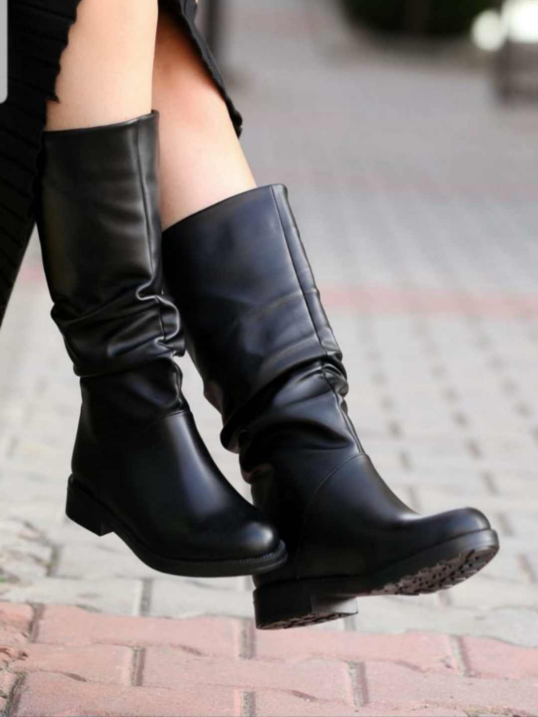 Boots Shoes Women Winter platform Woman Fashion Chunky Leather Ladies Heel Women's  Autumn Boot Female