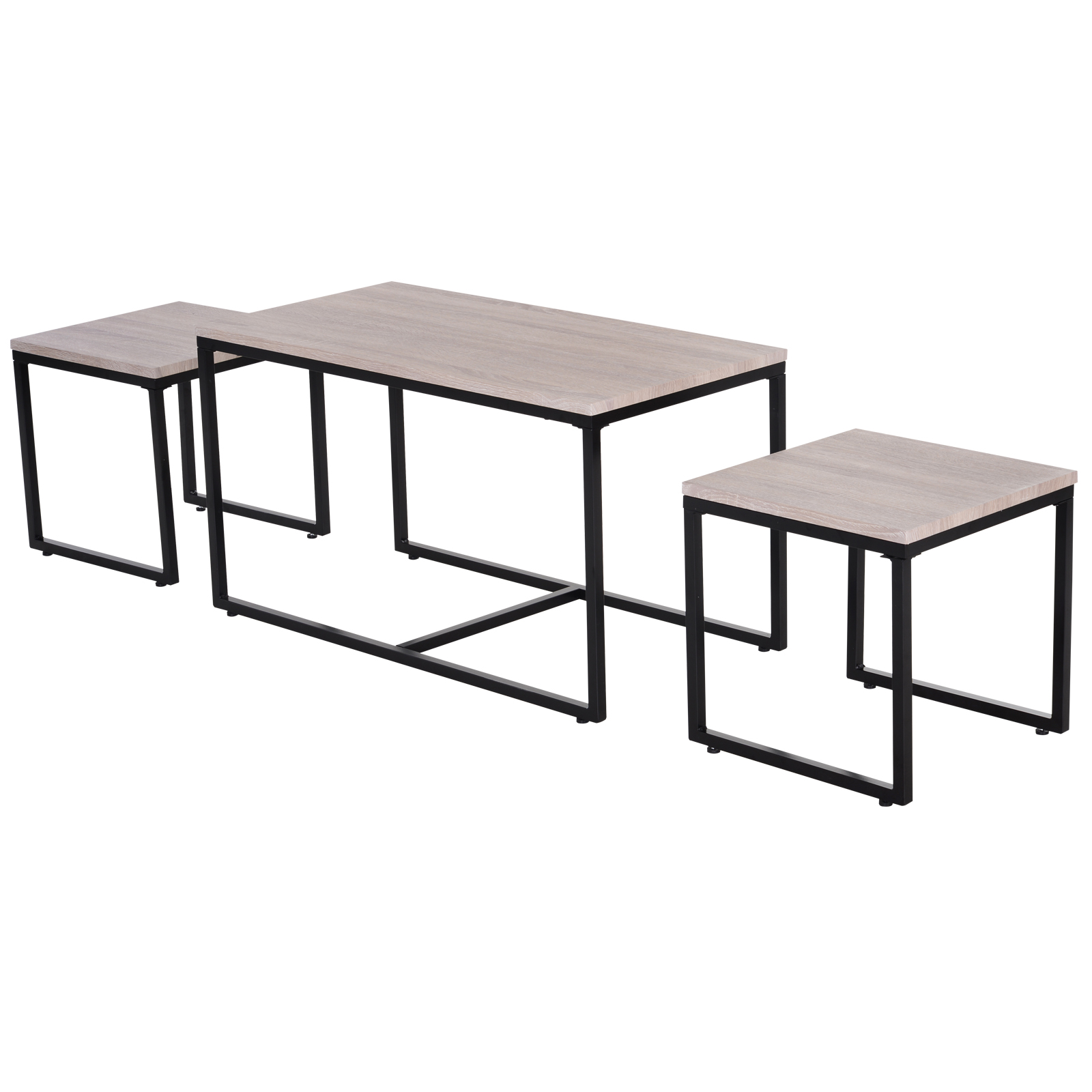 HOMCOM Set 3 Coffee Tables Minimal Design Shelf Finish MDF Laminated PVC Water-resistant And Wear-resistant