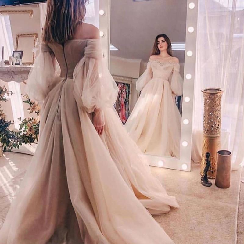 Dubai Evening Gowns 2020 Organza Off The Shoulder Long Sleeves Formal Dress Robe De Soiree Abiye Abendkleider Prom Dresses