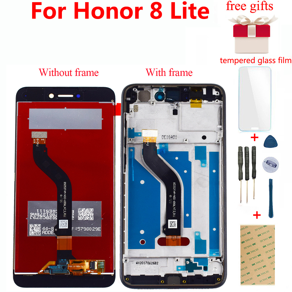 For <font><b>Huawei</b></font> <font><b>Honor</b></font> <font><b>8</b></font> <font><b>Lite</b></font> LCD Screen <font><b>PRA</b></font>-AL00 <font><b>PRA</b></font>-AL00X <font><b>PRA</b></font>-<font><b>TL10</b></font> LCD <font><b>Display</b></font> Touch Screen Digitizer Panel Sensor Assembly Frame image