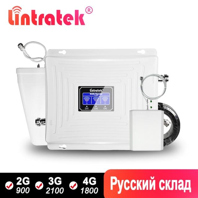 Lintratek אות משחזר 2G 3G 4G GSM 900 LTE 1800Mhz UMTS 2100 Tri בנד נייד Amplifer עם WCDMA DCS סט