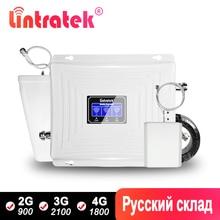 Repetidor de señal Lintratek 2G 3G 4G GSM 900 LTE 1800Mhz repetidor Booster UMTS 2100 amplificador móvil de tres bandas con juego WCDMA DCS