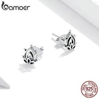 bamoer 925 Sterling Silver Lotus Bud Ear Earrings for Women Minimalist Fine Hypoallergenic  Elegant Weddings jewelry SCE989 2