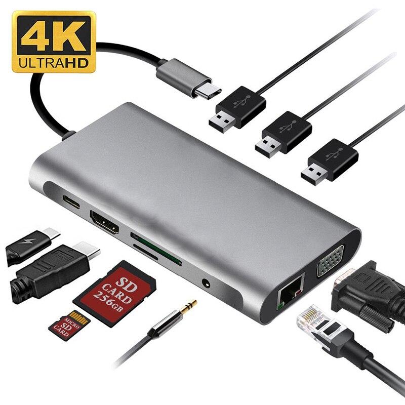 Station tipo c Conversor para Macbook 10 em 1 Docking Adaptador 4 k Hdmi Vga Rj45 Pro Thunderbolt 3 Usb Hub 3.0