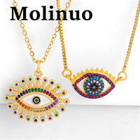 European and American new Zircon necklace drop oil eye pendant personality tide woman 100 tie sweater chain autumn and winter