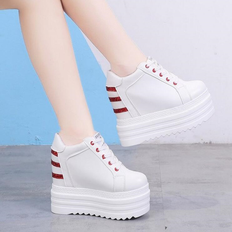 NEW Brand Hidden Heels Wedge Platform Sneakers Women Casual Lace Up Thick Bottom Walking Shoes Woman Non Slip Sneakers Mujer W43