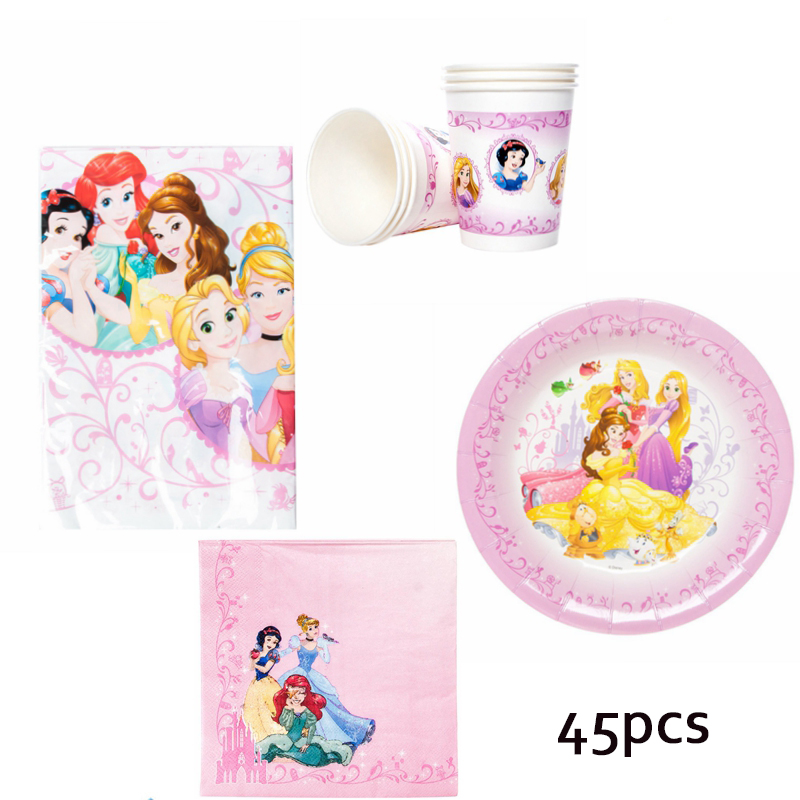45pcs <font><b>Princess</b></font> Theme Disposable Tableware Set Girls' Favor Birthday Baby Shower Han <font><b>Party</b></font> Supplies for 12 persons image