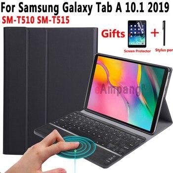 Touchpad Keyboard Case for Samsung Galaxy Tab A 10.1 2019 SM-T510 SM-T515 T510 T515 Tablet Slim Leather Cover Bluetooth Keyboard original chuwi hi12 rotating keyboard removable 12 inch tablet keyboard for hi12 tablet pc rotary keyboard