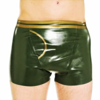 Sexy Mens Latex Rubber Underwear with Crotch Inner Penis Hole Handmade S LPM123