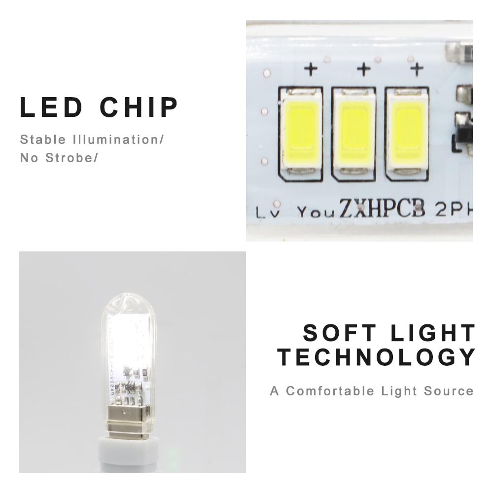 DC5V Touch Switch USB Mini LED Book Lamp 3LEDs 1.5W Portable LED Reading Light USB LED Night Light Camping Bulb For Power Bank 4