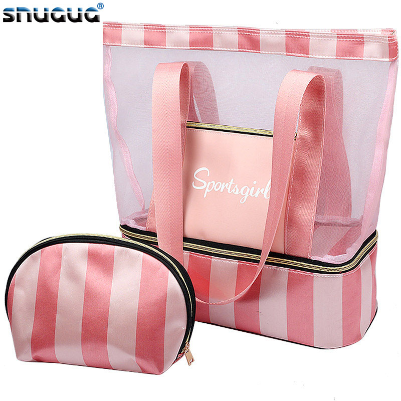 New 2019 Women Swimming Bag Mesh Bags Handbags Wet Dry Bags Net Tas Pool Beach Pouch Sack Sac De Sport Striped Clear Transparent