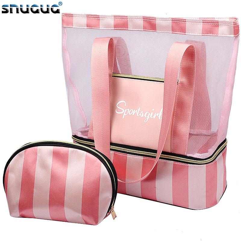 New 2019 Women Swimming Bag Mesh Bags Handbags Wet Dry Bags Net Tas Pool Beach Pouch Sack Sac De Sport Striped Clear Transparent