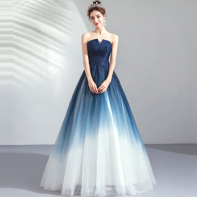 It's YiiYa Prom Gowns Blue Sleeveless Strapless A-Line Floor Length Long Party Dress Custom Plus Size Prom Dresses 2019 E263 2