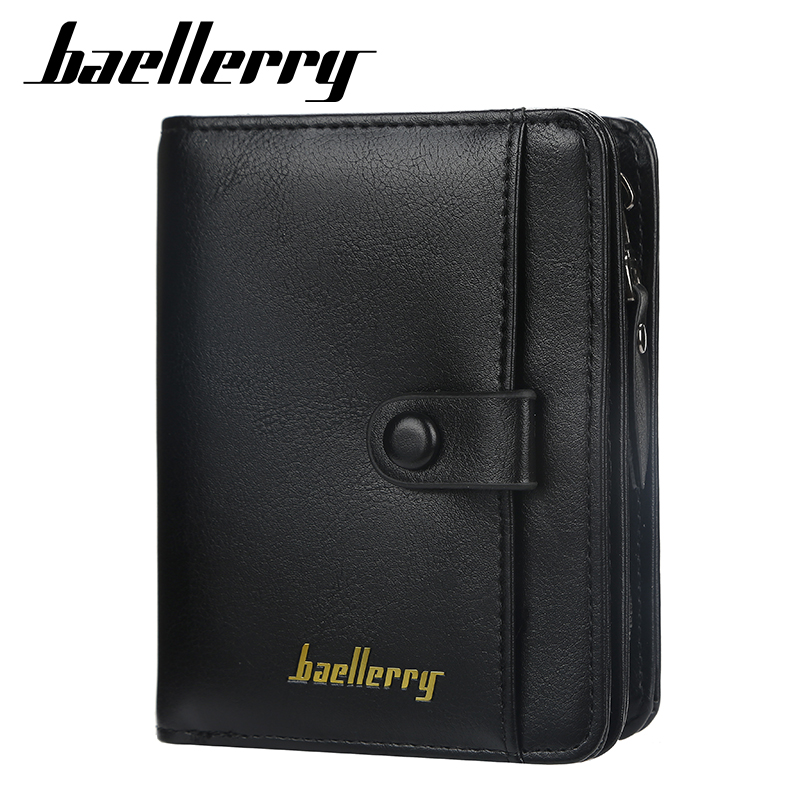 Famous Baellerry Men Wallets Fashion Trifold Wallet Zip Coin Pocket Purse PU Leather Man Wallet High Quality Card Holder
