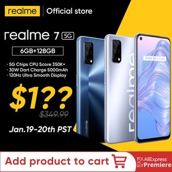 World Premiere realme 7 5G Dimensity 800U Smartphone 6GB 128GB 120Hz Display 48MP Camera 5000mAh Global Version 30W Dart Charge