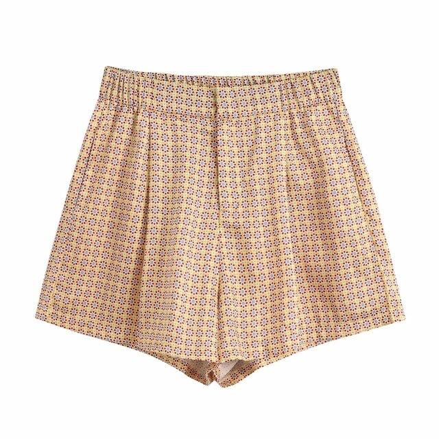 New 2020 women vintage floral geometric print Shorts ladies pocket casual slim shorts chic elastic waist pantalone cortos P625 1