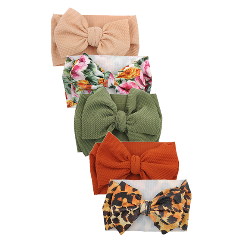 5 Pcs/lot Printing Turban Headband Baby Girls Hair Accessories Bullet Fabric Photo Props Newborn Headwraps Kids Bows Headband