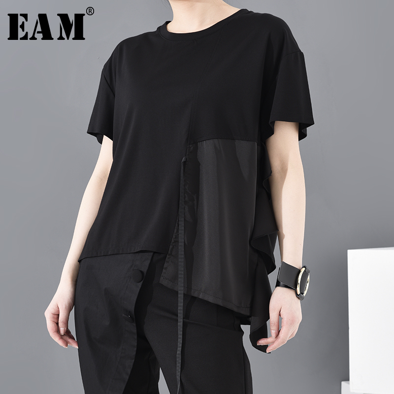 [EAM] Women Black Split Joint Bandage Big Size T-shirt New Round Neck Short Sleeve Fashion Tide  Spring Summer 2020 JW59501