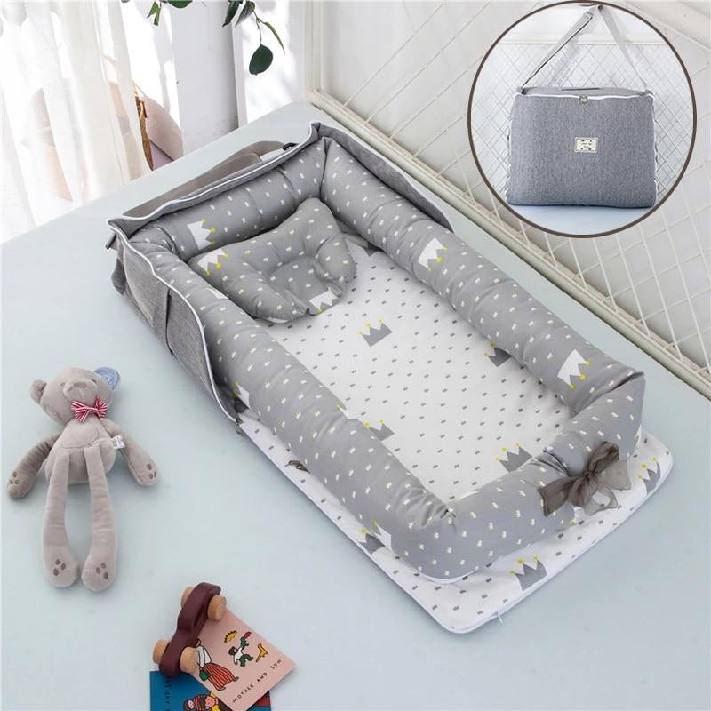 Abnehmbare Neugeborenen Bett Babybett Nest Bett Tasche Set Bebe Schützen Wiege Kissen Stoßstange Tragbare Reise Krippe für Neugeborenen babynest