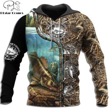 Walleye fishing hoodie with camo effect