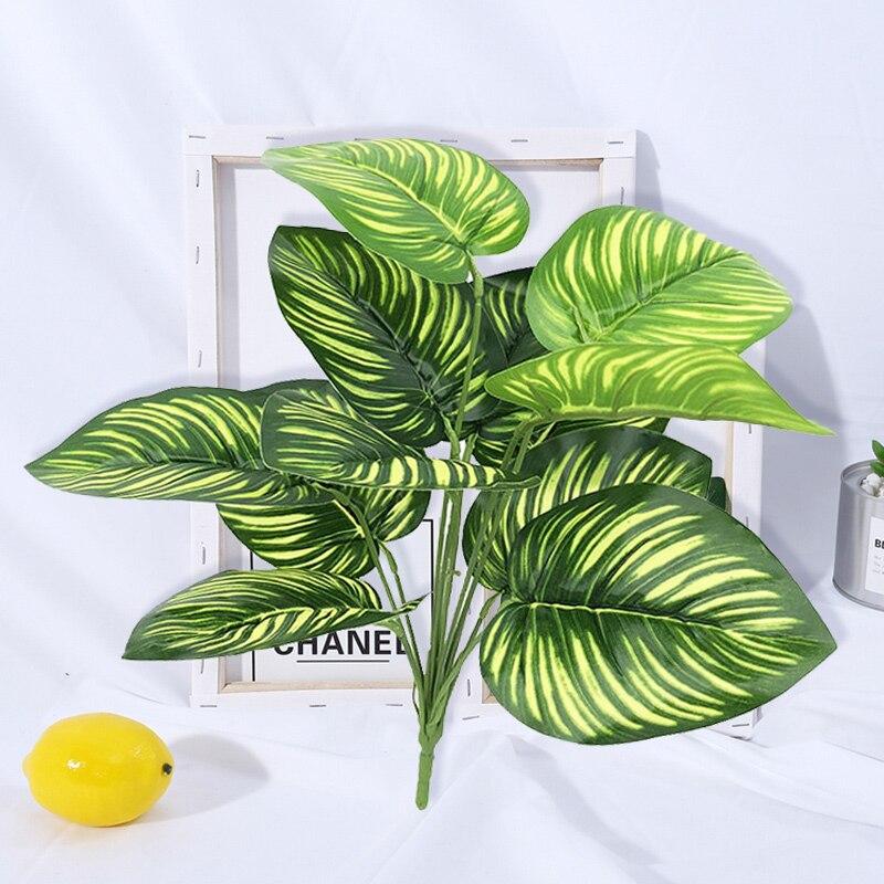 40 см 12 головок тропических монстера листовые искусственные растения листья искусственная Пальма Пластик дерево в горшке зеленой листвы дл...