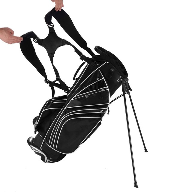 Golf Stand Cart Bag with 6-Way Divider Carry Pockets Golf Rack Bag Mens Women Standard Ball Club Bag Portable Large Capacity 5