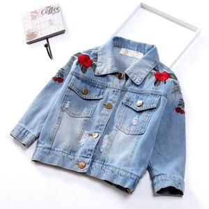 Image 5 - Jednorożec kurtka dżinsowa dla dziewczynki dzieci jesień wiosna dziewczynek haftowana kurtka dżinsowa 3 ~ 12 lat dziewczyny odzież wierzchnia