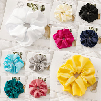 Candy Color Silky Elastic Hair Band Women Oversized Scrunchies Headwear Smooth Satin Hair Rope Hair Ring Women Hair Accessories image