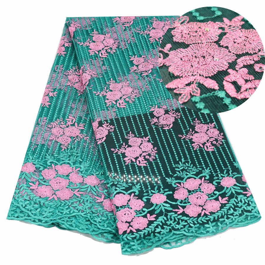 Verde Rosa Francese Tessuto di Pizzo Netto Ultime Tessuto Africano Del Merletto Con Ricamo Della Maglia di Tulle del Tessuto Del Merletto di Alta Qualità Del Merletto Nigeriano