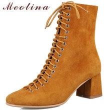 Stivaletti Meotina in vera pelle donna pelle scamosciata di mucca stringate tacco alto stivali corti Zip punta quadrata scarpe femminili autunno marrone