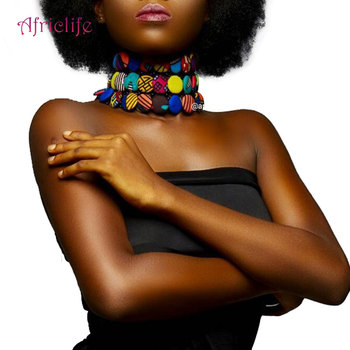2020 Latest Bohemian Style Button Choker Necklace African Fabric Handmade Body Jewelry Necklaces for Women SP015